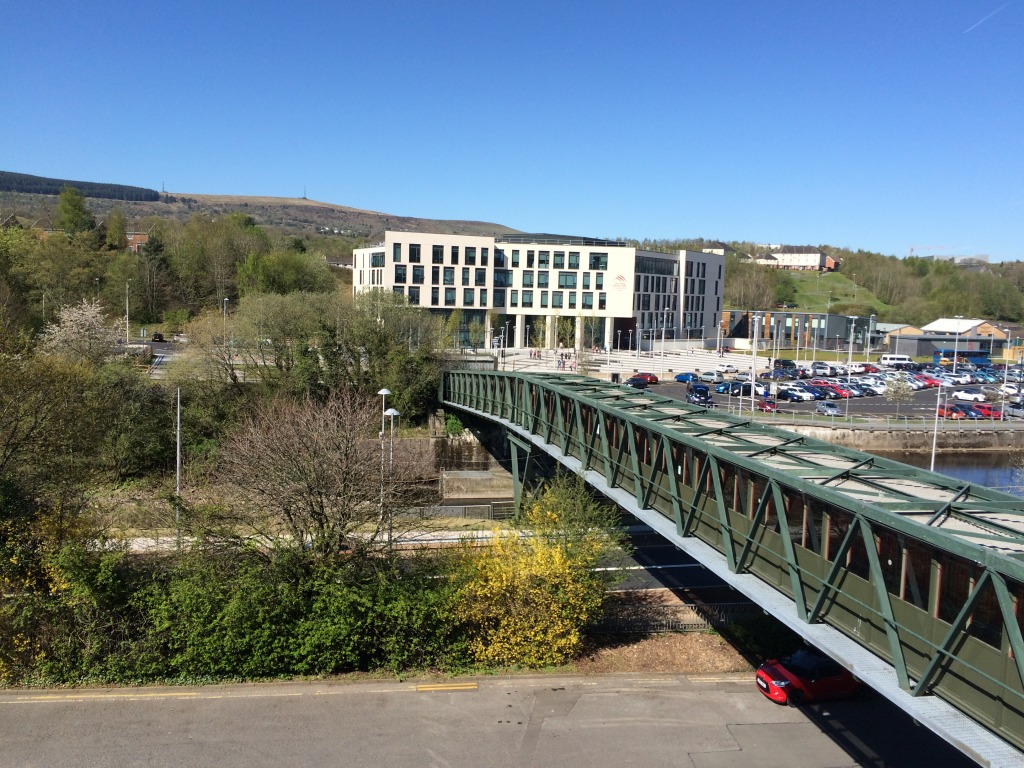 The College at Merthyr Tydfil with footbridge over the River Taff as seen from Wilko's roof by permission of Wilko's and St Tydfil's Shopping Centre. Image: Christopher Tipping