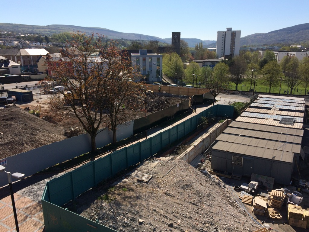New Bus Station site on Swan Street during demolition of the Police Station as seen from Wilko's roof by permission of Wilko's and St Tydfil's Shopping Centre Manager.  Image: Christopher Tipping