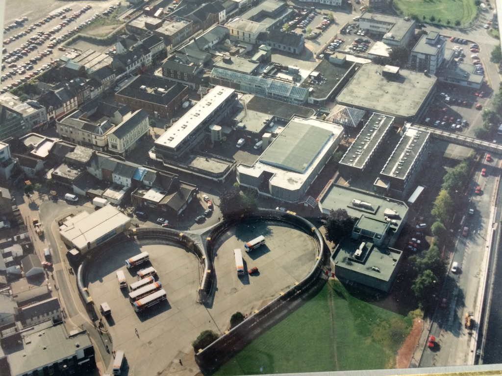 Merthyr Tydfil Town Centre, circa 1980 showing the Bus Station at the bottom and the site of the new Bus Station at the very top. Image:  By permission of St Tydfil's Shopping Centre Manager.