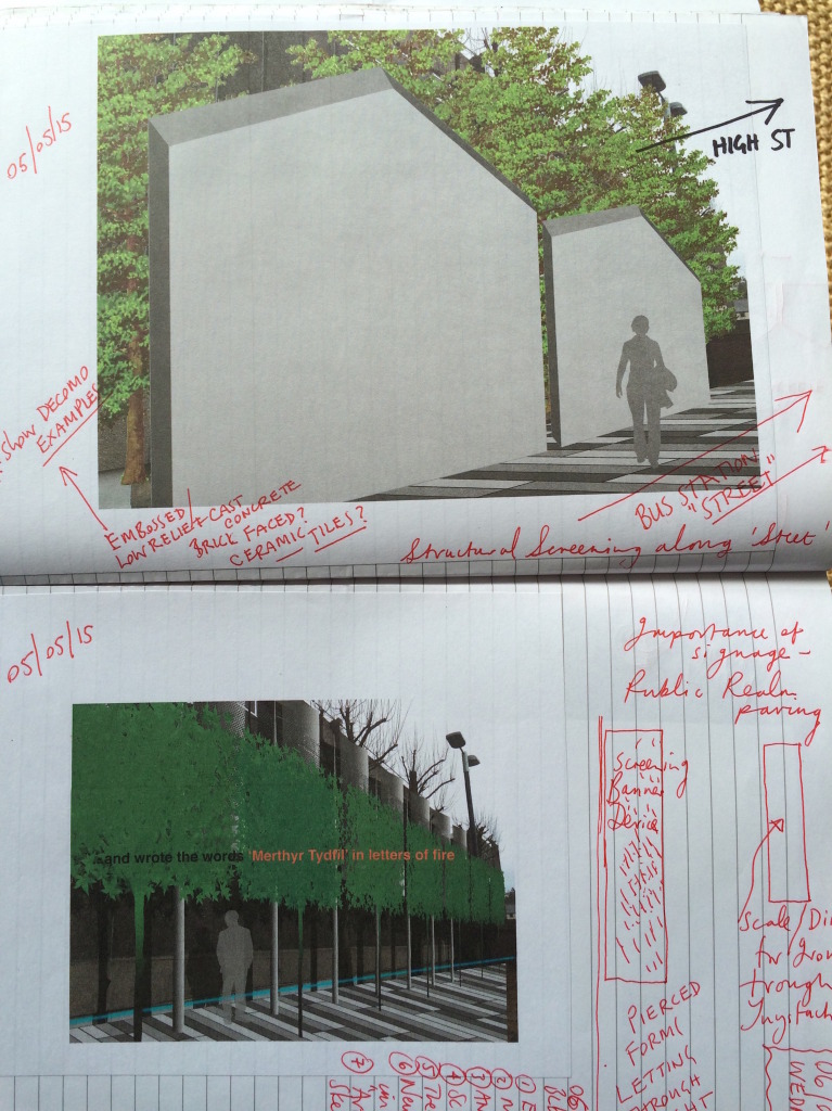 Merthyr Tydfil Bus Station Project. Artist sketchbook notes and contextual references. Image: Christopher Tipping