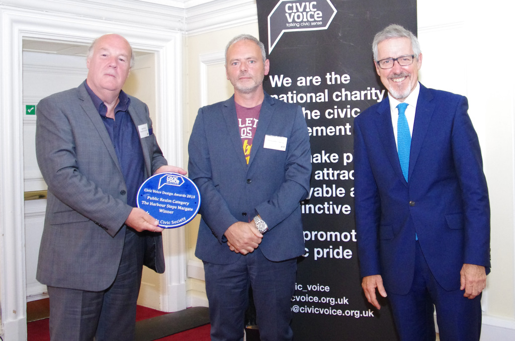 Margate Steps wins the 2015 Civic Voice Design Award for Public Realm. Image: Left to right - Geoff Orton, Chris Tipping, Project Artist and Griff Rhys Jones, President of Civic Voice. Photo: Christopher Tipping