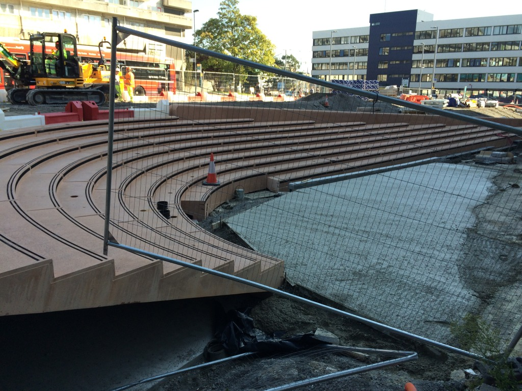Station Quarter North, Southampton. Bespoke Cast Concrete Amphitheatre Steps during installation at Wyndham Place. Image:Christopher Tipping