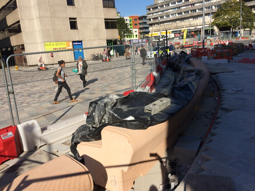 Station Quarter North, Southampton. Bespoke cast concrete two tier radius bench awaiting final installation on the Station Forecourt. Image:Christopher Tipping