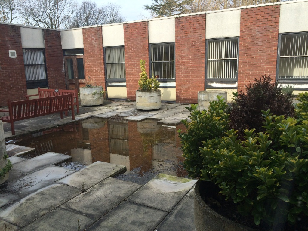 Tameside Hospital, Ladysmith Building Courtyard awaiting refurbishment. Image: Christopher Tipping