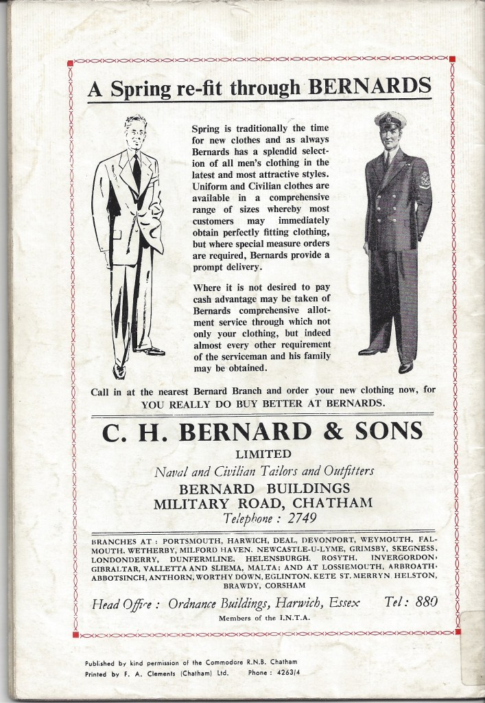 C.H Bernard & Sons Naval & Civilian Tailors and Outfitters. CHATS Magazine. Collection of Christopher Tipping