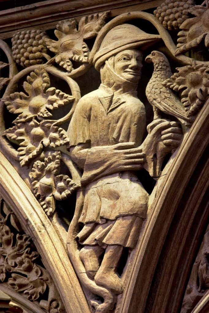Carved Falconer detail from the Quire in Winchester Cathedral. Image: Dr John Crook
