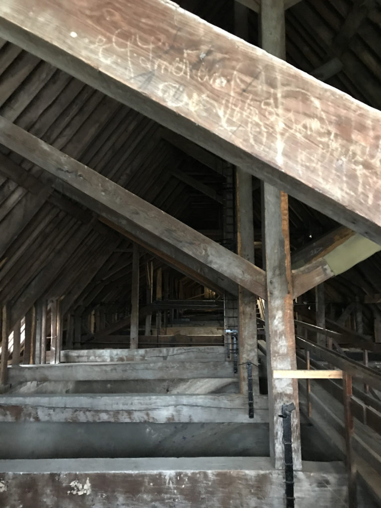 Massive Oak beams inside the roof of Winchester Cathedral. Image: Christopher Tipping