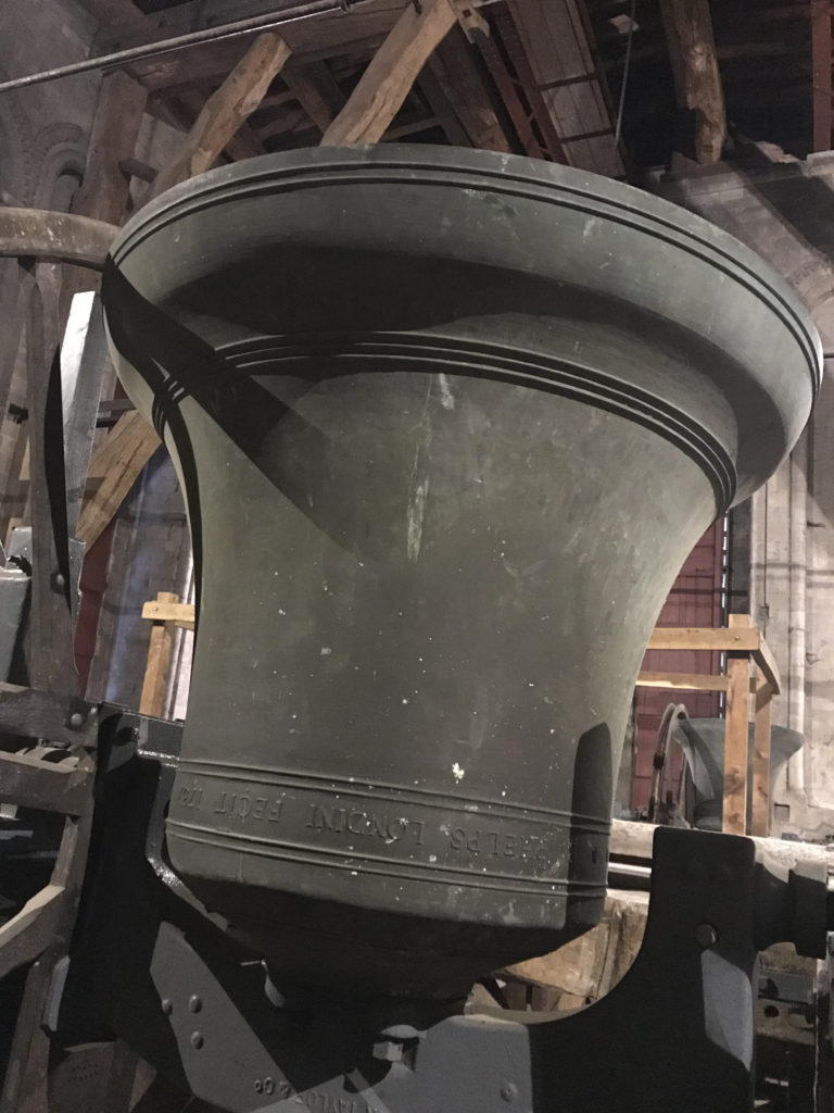 One of the peal of Bells in Winchester Cathedral recast in 1937 by John Taylor & Co. Loughborough. Image: Christopher Tipping