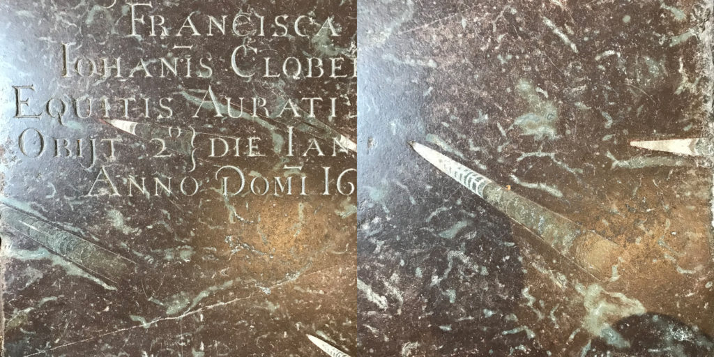 The memorial stone for of the daughter of Sir John Clobery in Winchester Cathedral is made from imported Swedish Marble. Image: Christopher Tipping